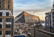 Construction progress of the U.S. Bank Stadium (new Minnesota Vikings stadium), as seen from the Haaf Ramp in Downtown East, Minneapolis, Minnesota, on 3 December 2015.